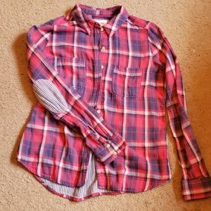 Lined lightweight button up w/elbow patch.szL